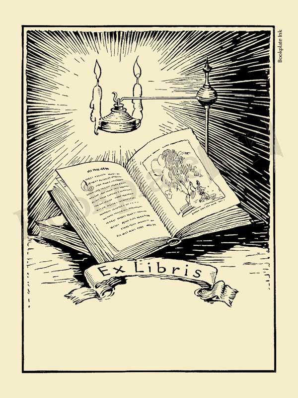 A106-open-book-candle-ex-libris
