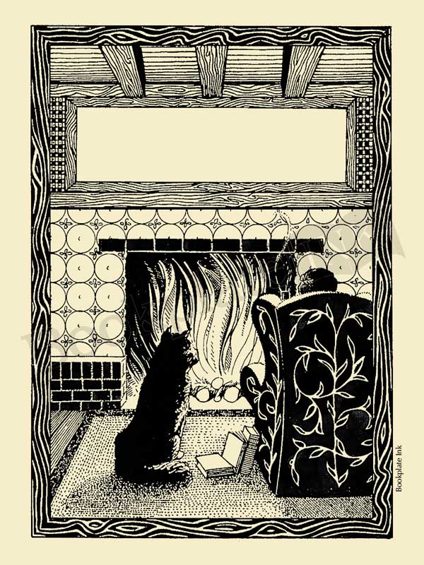A108-cat-and-owner-by-fireplace
