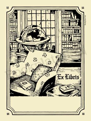 A109-home-library-and-globe-ex-libris