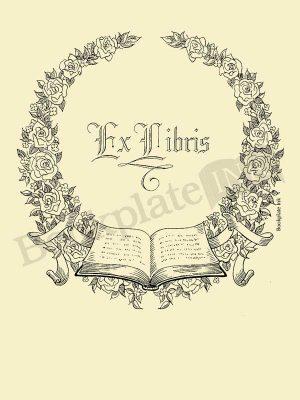 A112-bookplate-floral-wreath-open-book
