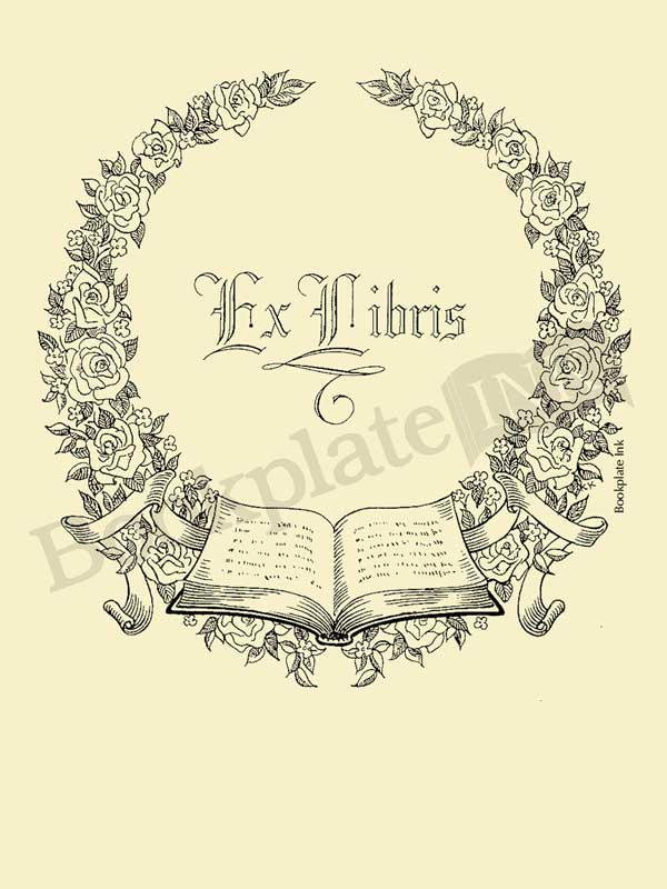 A112-bookplate-floral-wreath-open-book