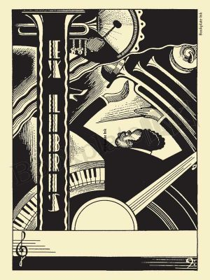 A120-jazz-music-bookplate-with-keyboard-and-trumpet