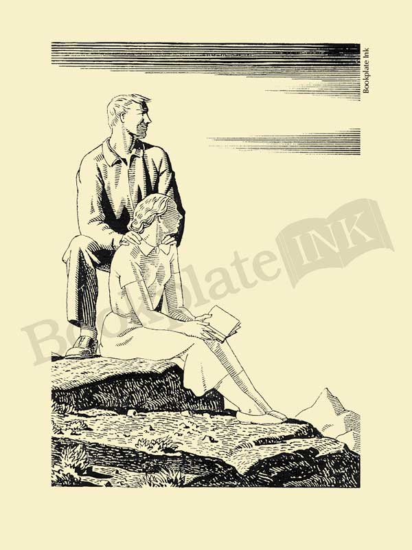 A121-Rockwell-Kent-bookplate-with-man-and-woman