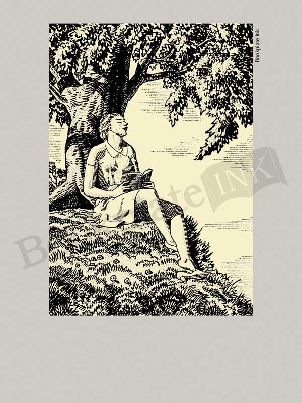 A122-Rockwell-Kent-woman-reading-by-tree-bookplate