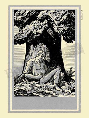 A124-Rockwell-Kent-bookplate-with-man-reading-by-tree