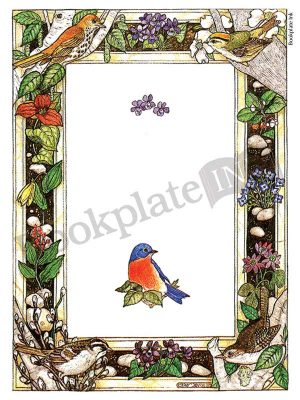 BP037 - Birds and flowers border bookplate