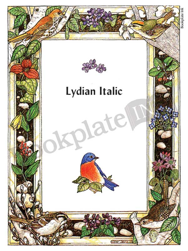Bp037 Birds And Flowers Border Bookplate Bookplate Ink