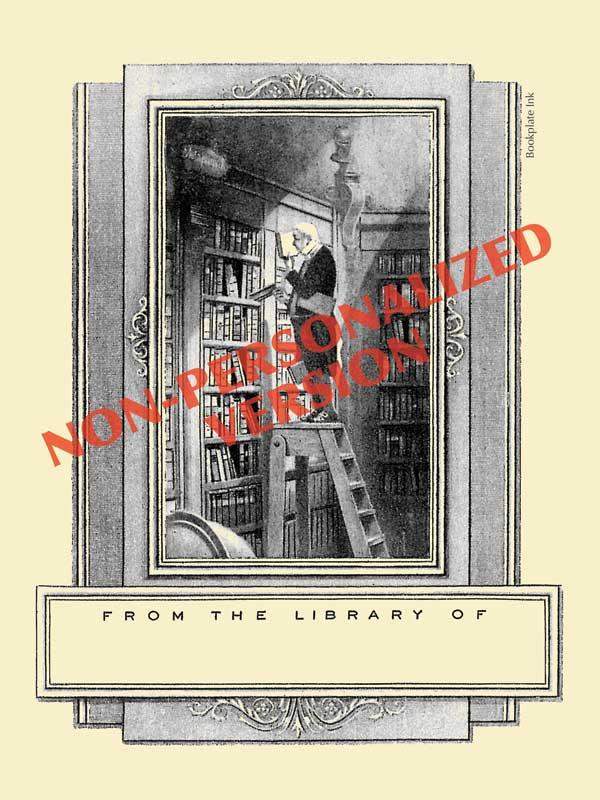 B208-bookworm-in-library-bookplate-nonpersonalized