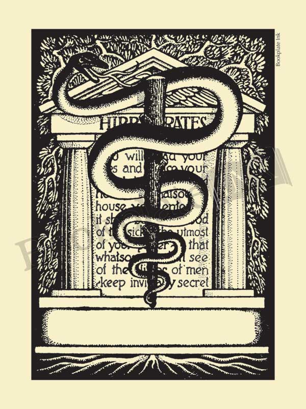 D7-Medical-bookplate-caduceus-Hippocratic-Oath