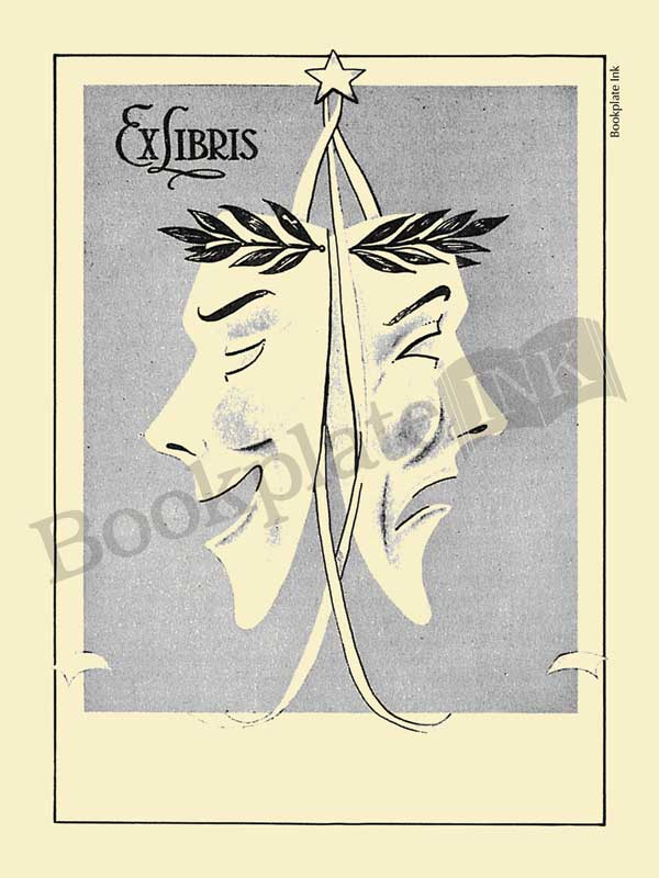 E161-Bookplate-comedy-tradegy-theatre-masks
