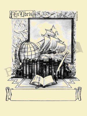 E176-Ship-books-globe-ex-libris