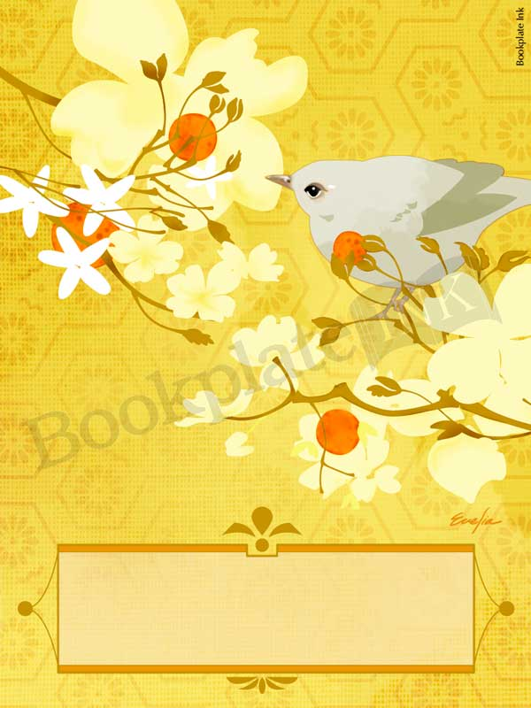ES161-mandarin-tree-branches-bird-bookplate