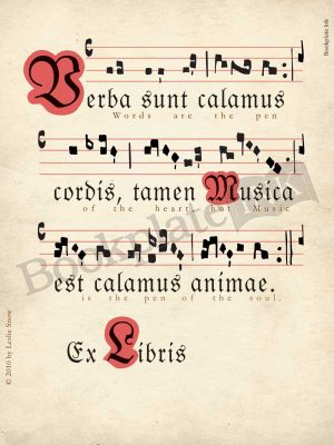LS100-Latin-chant-music-manuscript-bookplate