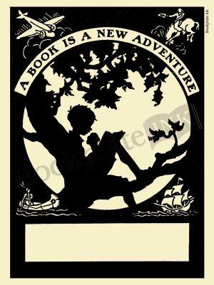 M101-boy-reading-in-tree-bookplate