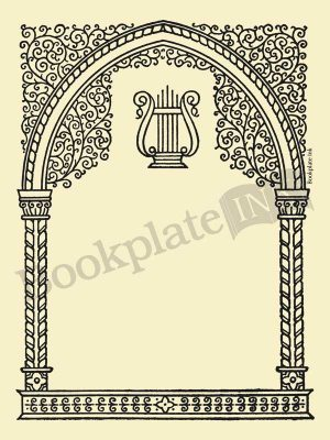 M759-music-lyre-border-bookplate