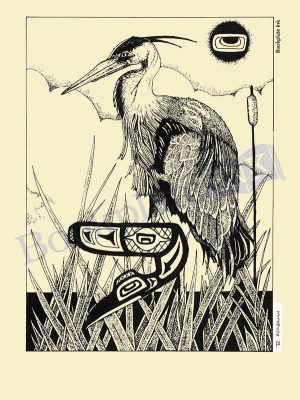 RA100 - Blue heron bookplate
