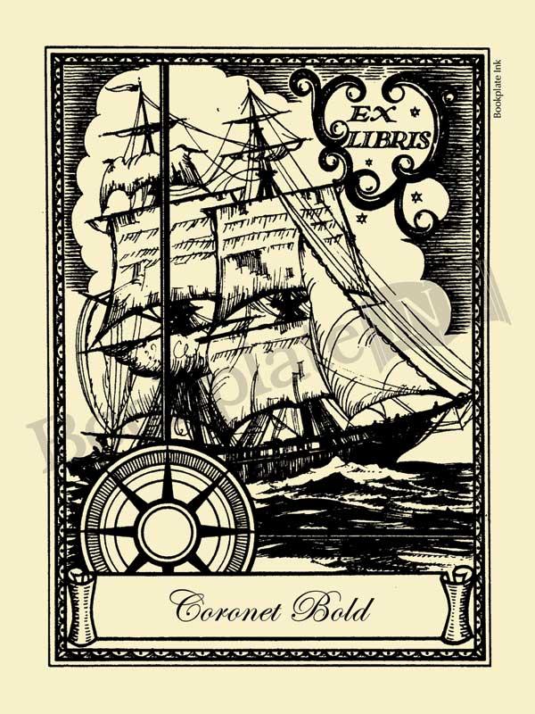 W10-Sailing-ship-nautical-bookplate_Coronet-Bold
