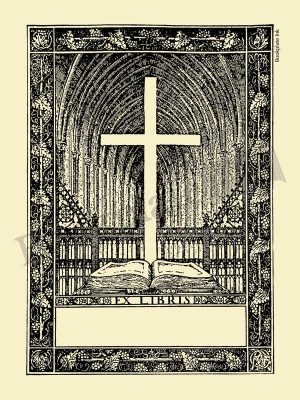X138-Bookplate-with-cross-and-ex-libris-